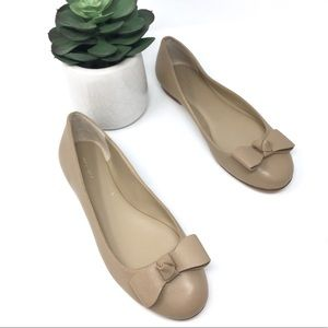 Ann Taylor Nude Leather Bow Flats